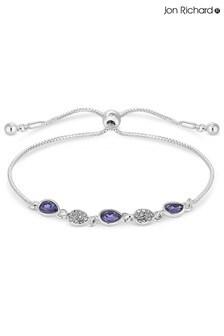 Jon Richard Silver Plated Blue Pave Toggle Bracelet Made With Swarovski Crystals