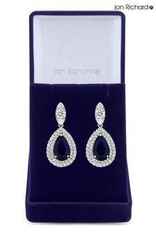 Jon Richard Rhodium Plated Cubic Zirconia Baguette Navette Sapphire Blue Pear Drop Earrings - Gift Boxed