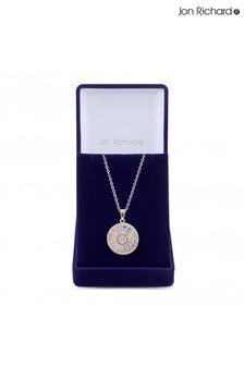 Jon Richard Rhodium Plated Cubic Zirconia Circle Baguette Pendant Necklace - Gift Boxed