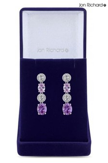 Jon Richard Rhodium Plated Amethyst Cubic Zirconia Crystal Drop Earrings - Gift Boxed