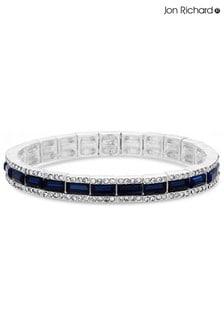 Jon Richard Silver Plated Crystal Pave Stretch Bracelet