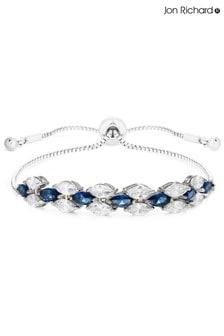 Jon Richard Silver Plated Cubic Zirconia Blue Navette Toggle Bracelet