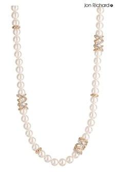 Jon Richard Pave Encased Cream Pearl Necklace