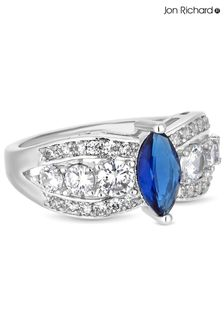 Jon Richard Rhodium  Plated Blue Centre Cubic Zirconia Crystal Navette Stone Ring