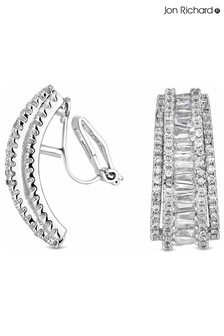 Jon Richard Cubic Zirconia Crystal Statement Half Hoop Clip On Earrings