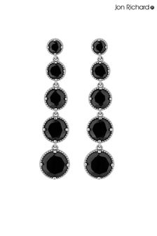 Jon Richard Graduated Jet Long Drop Earrings