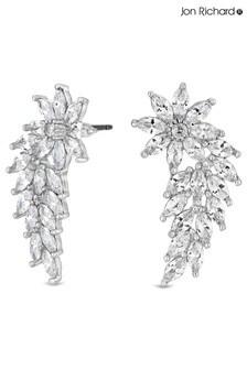 Jon Richard Cubic Zirconia Flower Navette Wing Statement Earrings