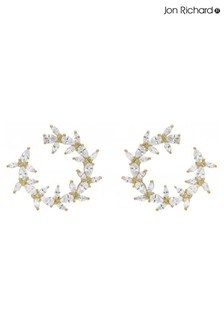Jon Richard Gold Plated Cubic Zirconia Petal Front Facing Hoop Earrings