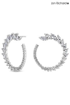 Jon Richard Cubic Zirconia Graduated Navette Hoop Earrings