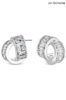 Jon Richard Cubic Zirconia Baguette Twist Hoop Earrings