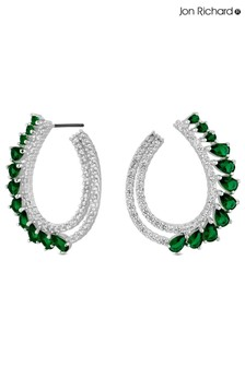 Jon Richard Silver Plated Green Front Facing Hoop Earrings
