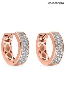Jon Richard Rose Gold Plated Small Cubic Zirconia Pave Hoop Earrings