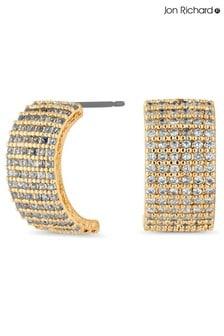 Jon Richard Gold Plated Cubic Zirconia Crystal  Encrusted Half Hoop Earrings