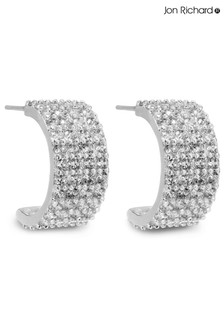 Jon Richard Pave Cubic Zicronia Half Hoop Earrings