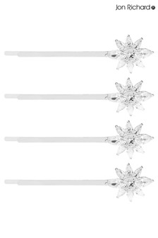Jon Richard Valentina Silver Cubic Zirconia Floral Pack Of 4  Hair Slide