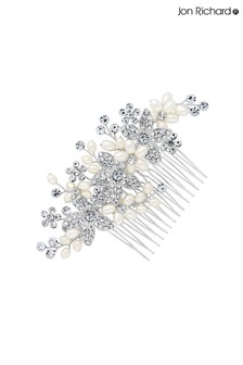 Jon Richard Pearl And Silver Crystal Floral Hair Comb