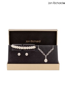 Jon Richard Twist Pearl Bracelet, Necklace and Earrings Trio Set