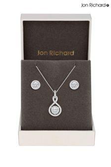 Jon Richard Rhodium Plated Cubic Zirconia Infinity Set - Gift Boxed
