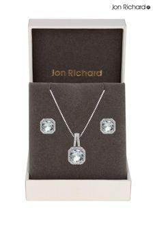 Jon Richard Rhodium Plated Aqua Blue Cubic Zirconia Crystal Square Drop Set - Gift Boxed