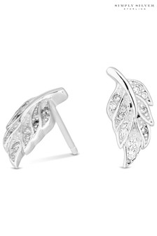 Simply Silver 925 Cubic Zirconia Feather Stud Earrings