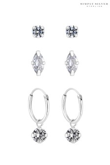Simply Silver Sterling Silver 925 Cubic Zirconia Marquise and Hoop Earrings - Pack Of 3