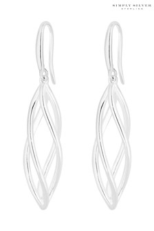 Simply Silver 925 Polished Cage Drop Earrings