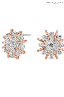 Simply Silver 14ct Plated Sterling Silver 925  Starburst 2-Tone S