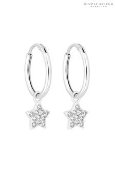 Simply Silver 925 White Cubic Zirconia Star Hoop Earrings