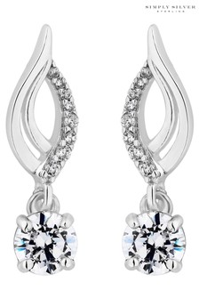 Simply Silver 925 Polished Cubic Zirconia Single Solitaire Drop Earrings