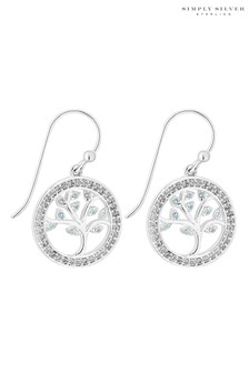Simply Silver 925 Tree Of Life Drop Earrings Embellished with Swarovski Crystals