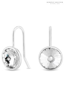 Simply Silver 925 White Clear Crystal Round Besel Drop Earrings Embellished with Swarovski Crystals