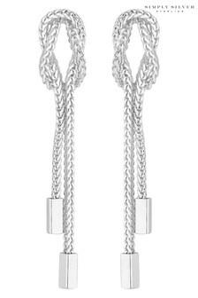 Simply Silver 925 Mesh Knot Drop Earrings