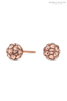Simply Silver 6mm Pave Ball Stud Earrings