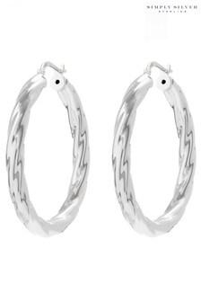 Simply Silver Sterling Silver 925 Polished Large Twist Hoop Earrings