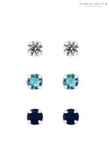 Simply Silver 925 Blue Tonal Stud Earrings - Pack Of 3