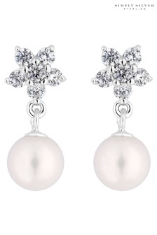 Simply Silver 925 Freshwater Pearl Floral Drop Earrings