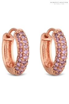 Simply Silver Sterling Silver 925 14ct Rose Gold Plated Cubic Zirconia Pink Pave Hoop Earrings