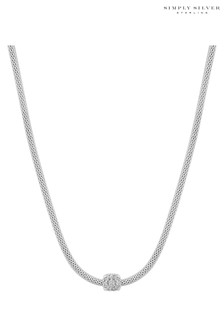 Simply Silver 925 Popcorn Cubic Zirconia Square Pave Charm Allway Necklace