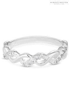 Simply Silver Sterling Silver 925 White Cubic Zirconia Infinity Sized Ring