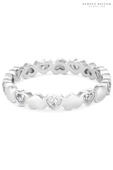 Simply Silver 925 White Cubic Zirconia Heart  Sized Ring