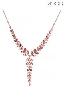 Mood Rose Gold Plated Pink Effect Crystal Leaf Allway Necklace