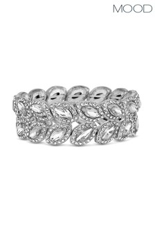 Mood Crystal Pave Statement Leaf Stretch Bracelet
