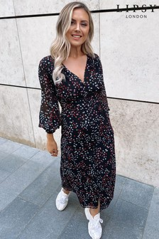 Lipsy Printed Button Through Midi Dress