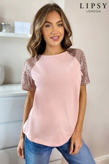 Lipsy Sequin Sleeve Tee