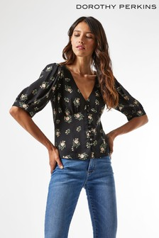 Dorothy Perkins Ditsy Button Through 3/4 Sleeve Top