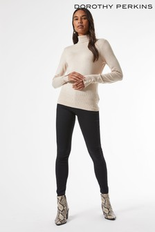 Dorothy Perkins Sustainable Oatmeal Pearl Button Cuff Roll Neck