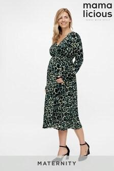 Mamalicious Maternity Animal Print Midi Dress