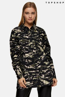 Topshop Oversized Camo Blouse