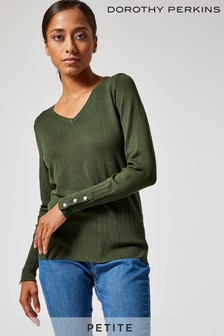 Dorothy Perkins Petite Sustainable Pearl Cuff V neck Jumper