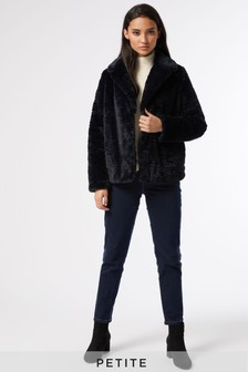 Dorothy Perkins Petite Midnight Wave Short Collar And Revere Coat